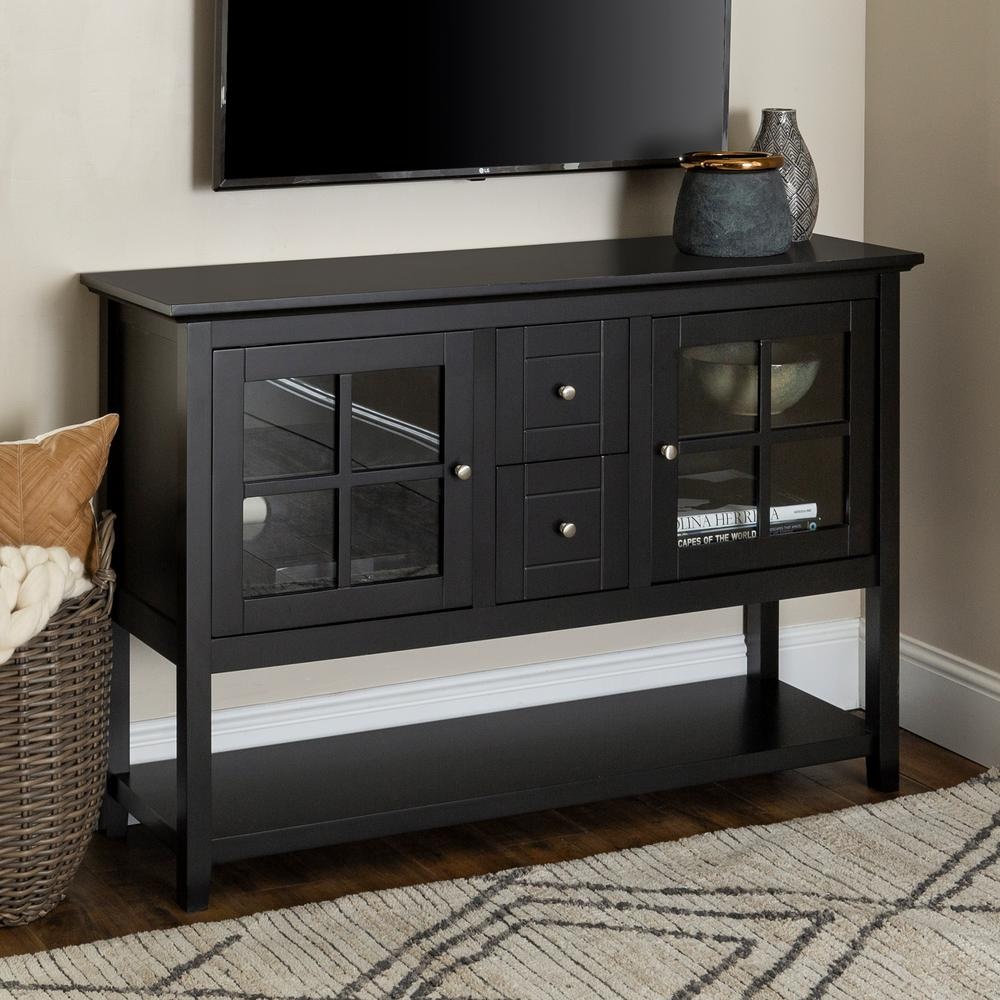 Walker Edison Furniture Company 52 Transitional Wood Glass Tv Stand Buffet Black Hd52c4ctbl The Home Depot