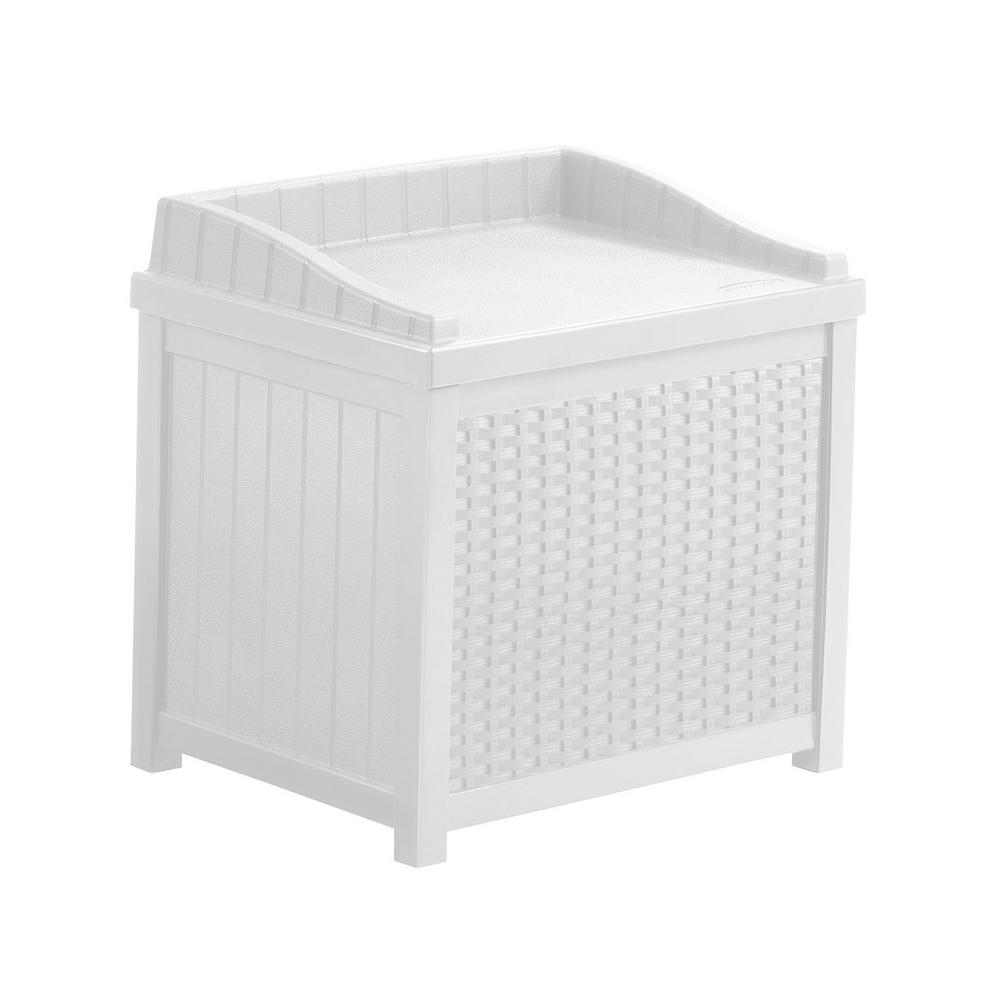 Suncast 22 Gal White Resin Wicker Storage Seat Ssw1200w