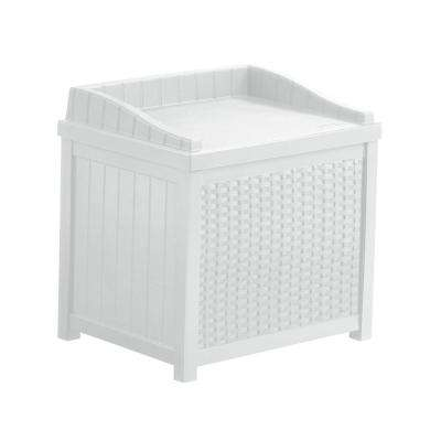 White Resin Wicker Storage Seat