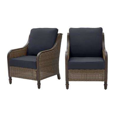Windsor Brown Wicker Outdoor Patio Lounge Chair with CushionGuard Midnight Navy Blue Cushions (2-Pack)