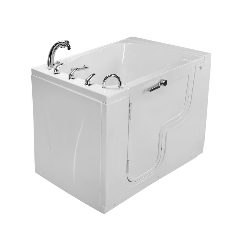 Ella Wheelchair TransferXXXL 55 in. Walk-In MicroBubble Air Bath Bathtub in White, Faucet Set, Heated Seat, Left Dual Drain