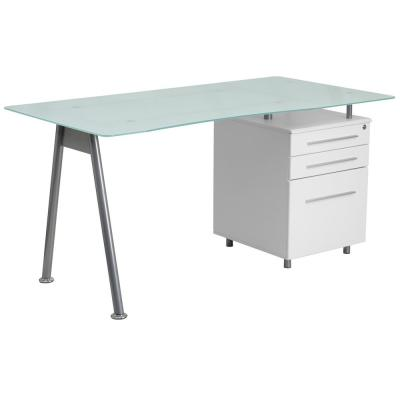 White Computer Desk with Glass Top and 3 Drawer Pedestal