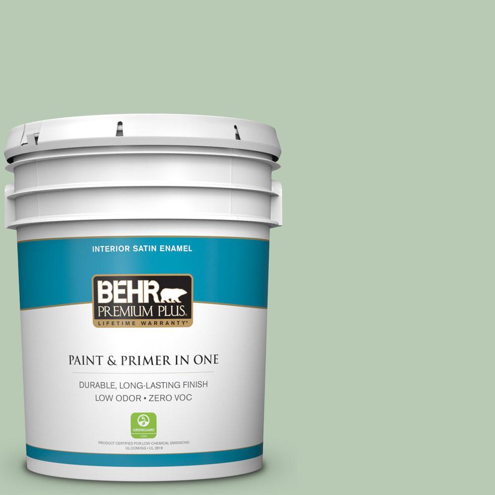 Low Voc Interior Paint: BEHR Premium Plus 5 Gal. #S400-3 Healing Aloe Satin Enamel