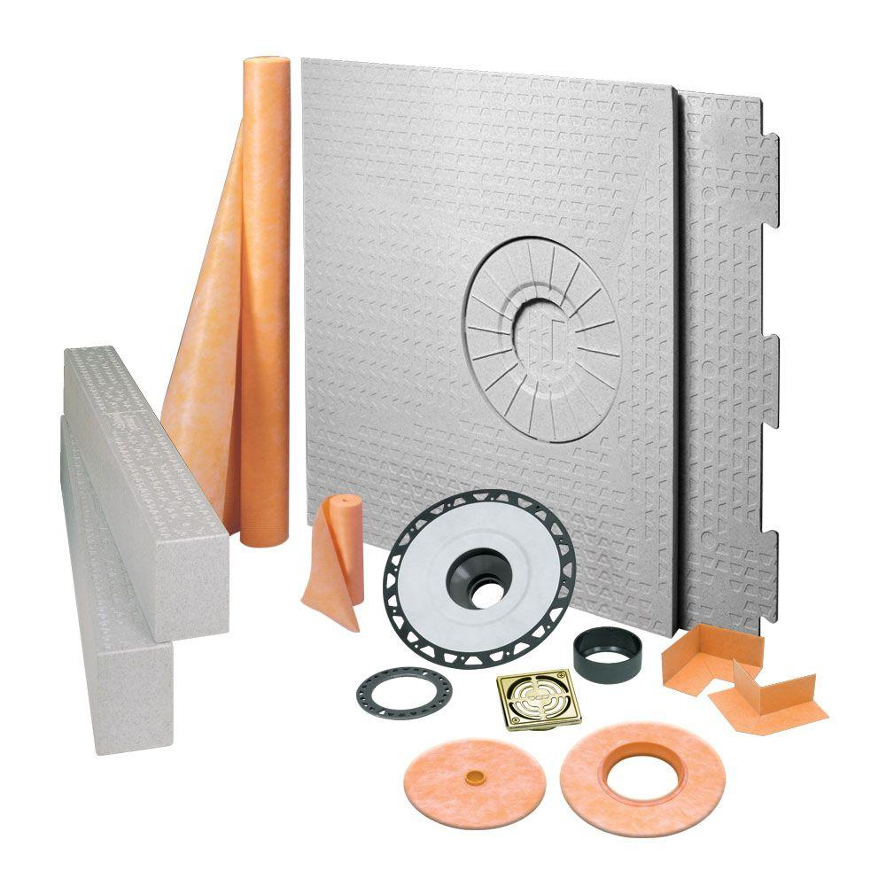Schluter Kerdi-Shower 32 in. x 60 in. Off-Center Shower Kit in ABS with Brushed Brass Anodized Aluminum Drain Grate