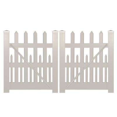 Ashville 8 ft. W x 4 ft. H Tan Vinyl Picket Fence Double Gate