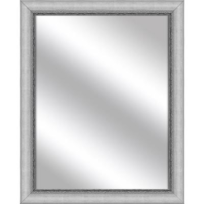 Medium Rectangle Stainless Silver Art Deco Mirror (32.375 in. H x 26.375 in. W)