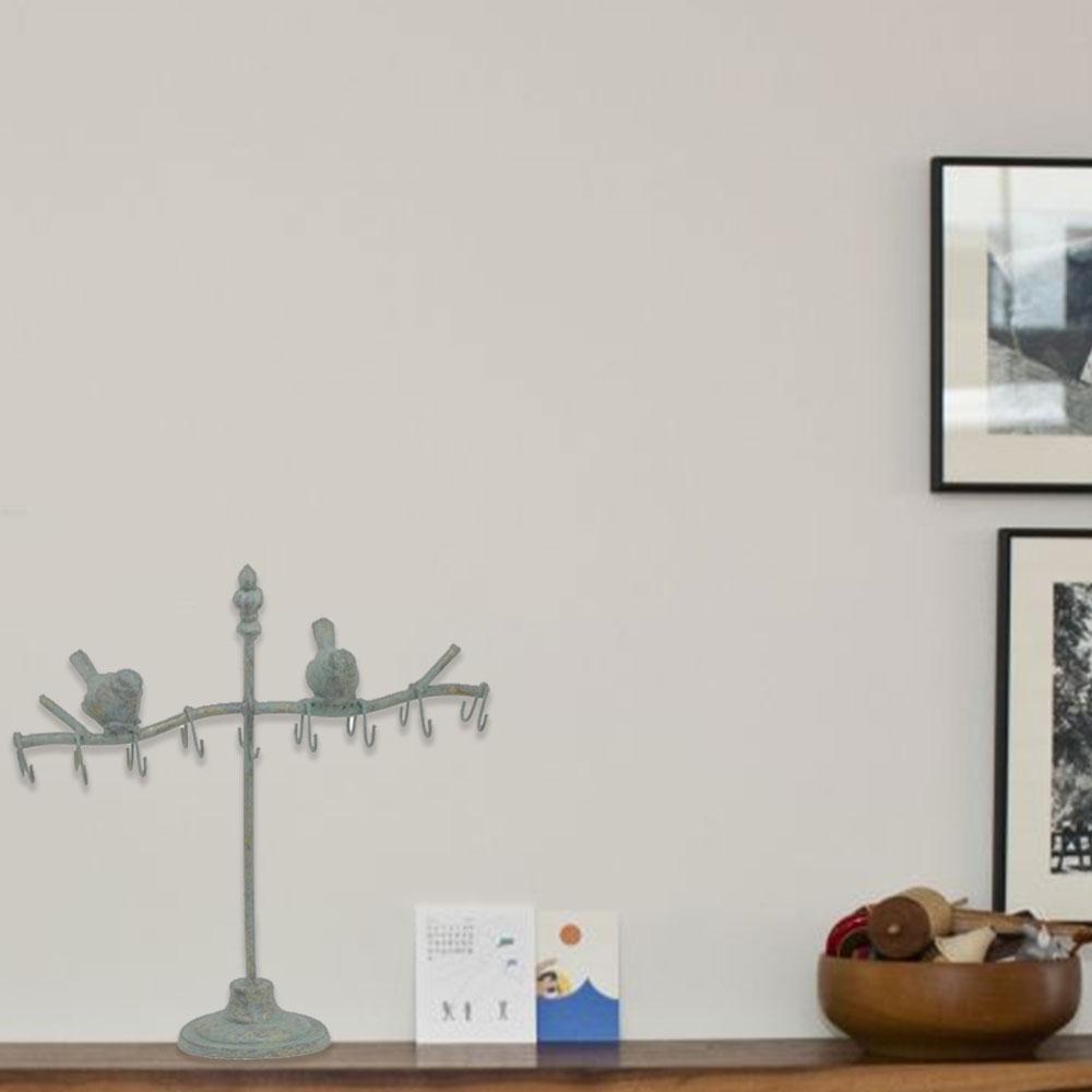 Bird Decorative Gray Distressed Iron Key Holder