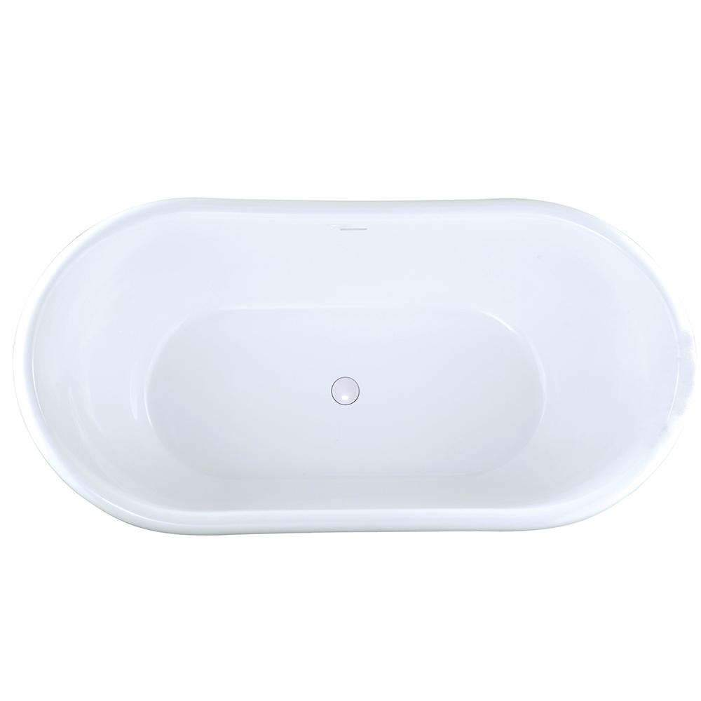 Hydro Systems Georgetown 6 Ft. Solid Surface Flatbottom Non Whirlpool Freestanding  Bathtub In White