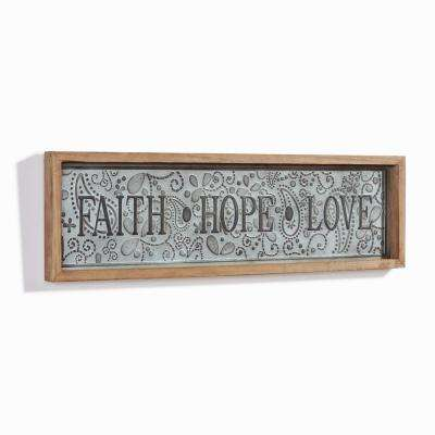 Inspirational Faith-Hope-Love Framed Metal Art Sign