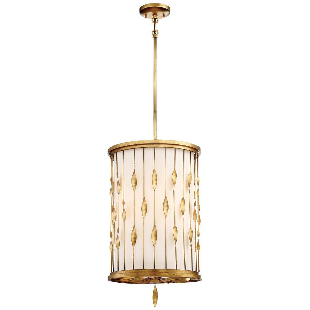 Olivetas 3-Light Il Terrace Gold Leaf Pendant