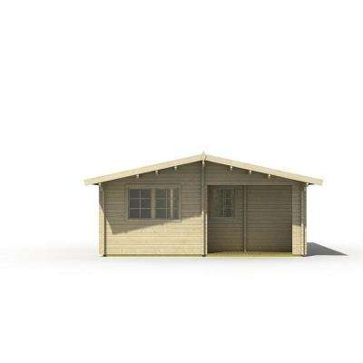 Ashton 19 ft. 5 in. x 19 ft. 5 in. Log Cabin Style Studio Guest Hobby Work Space Pool House Building Kit