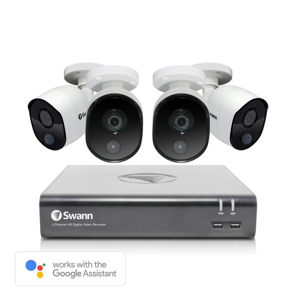 4-Channel 1080p DVR Surveillance System, 4 Bullet Cameras, 1TB, Google Voice Command