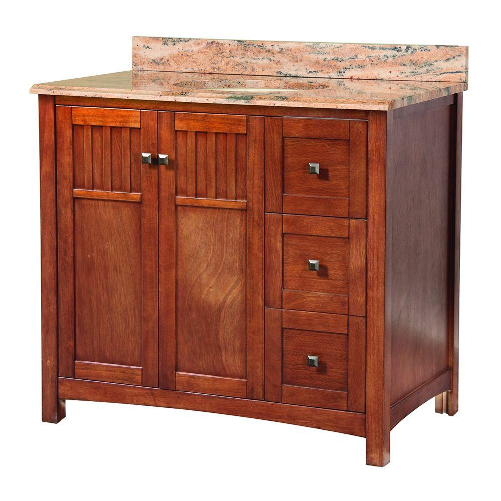 Home Decorators Collection Knoxville 37 in. x 22 in. D Vanity in Nutmeg with Stone Effects in Bordeaux Vanity top