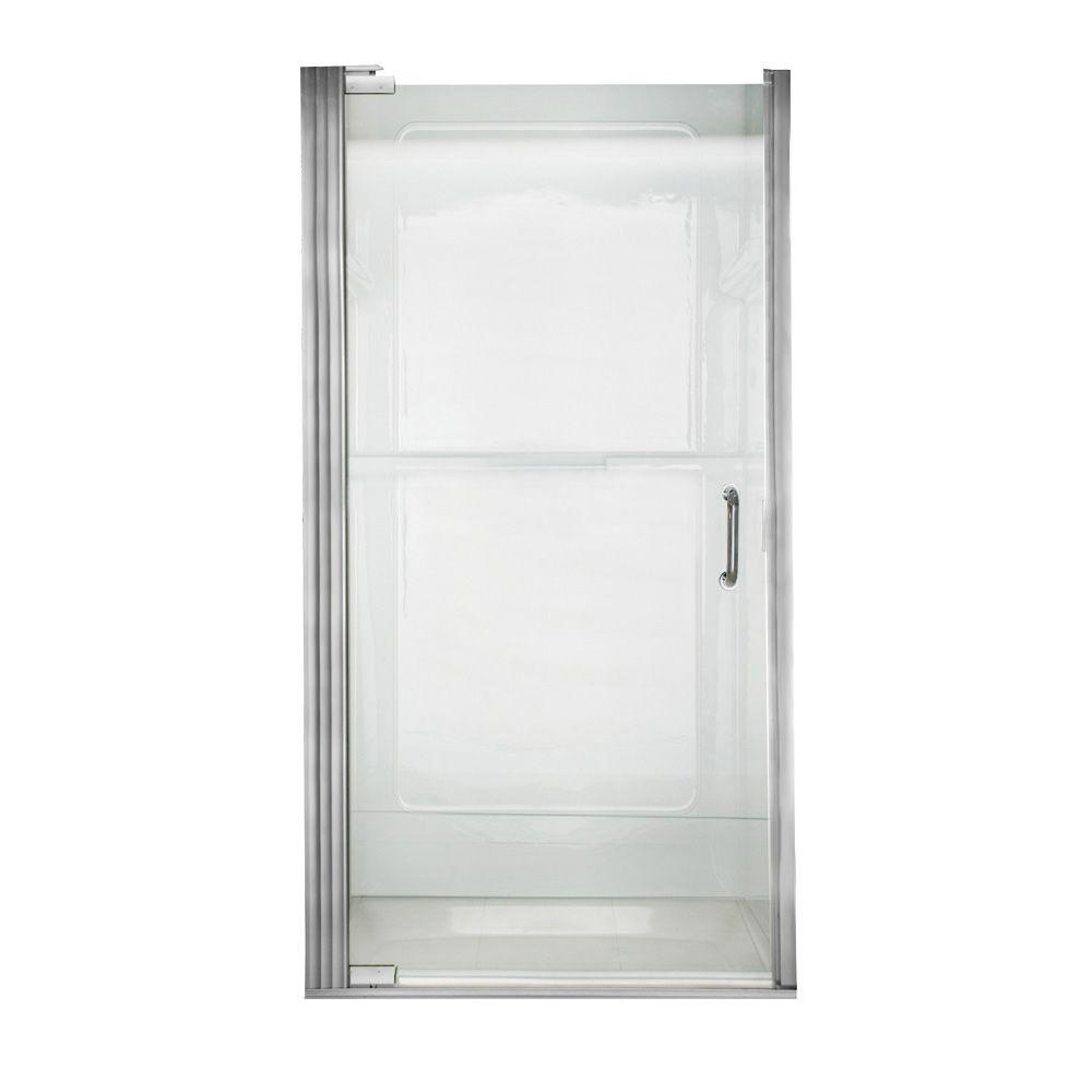 American Standard Euro 33.6 in. x 65.6 in. Semi-Frameless Continuous Hinged Shower Door in Silver Shine with Clear Glass and D Handle