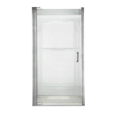 Euro 33.6 in. x 65.6 in. Semi-Frameless Continuous Hinged Shower Door in Silver Shine with Clear Glass and D Handle
