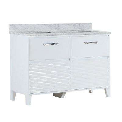 Tustin 48 in. W x 19 in. D x 34 in. H Double Vanity in White with Carrara Marble Vanity Top in White with White Basins
