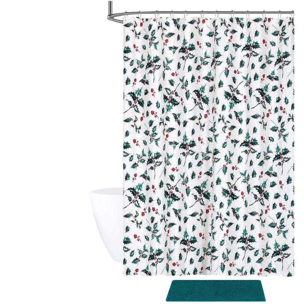 Internet 307420151 Tradition Holly Shower Curtain And Bath Rug Set