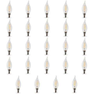40-Watt Equivalent CA10 Candelabra Dimmable Filament CEC LED Clear Glass Light Bulb, Daylight (Case of 24)