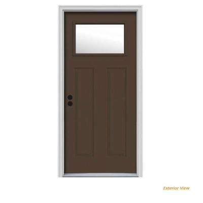 32 in. x 80 in. 1 Lite Craftsman Dark Chocolate Painted Steel Prehung Right-Hand Inswing Front Door w/Brickmould