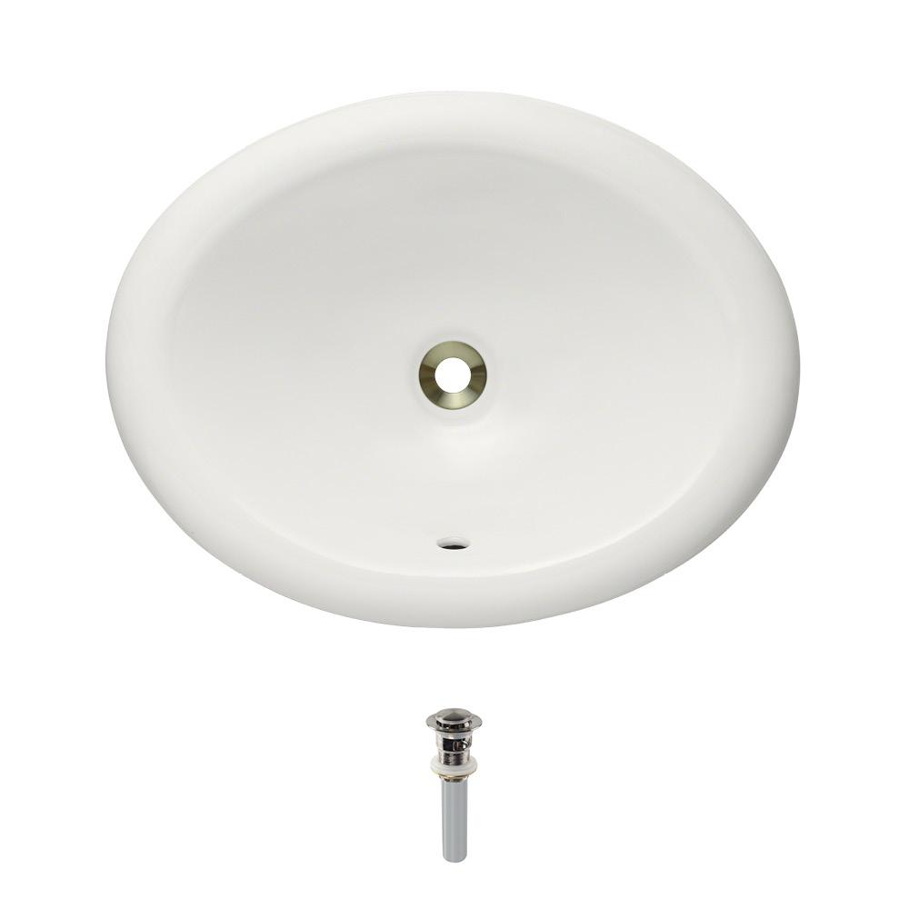 Mr Direct Overmount Porcelain Bathroom Sink In Bisque With