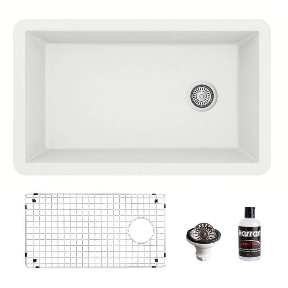 QU-670 Quartz/Granite Composite 32 in. Single Bowl Undermount Kitchen Sink with Grid and Basket Strainer in White