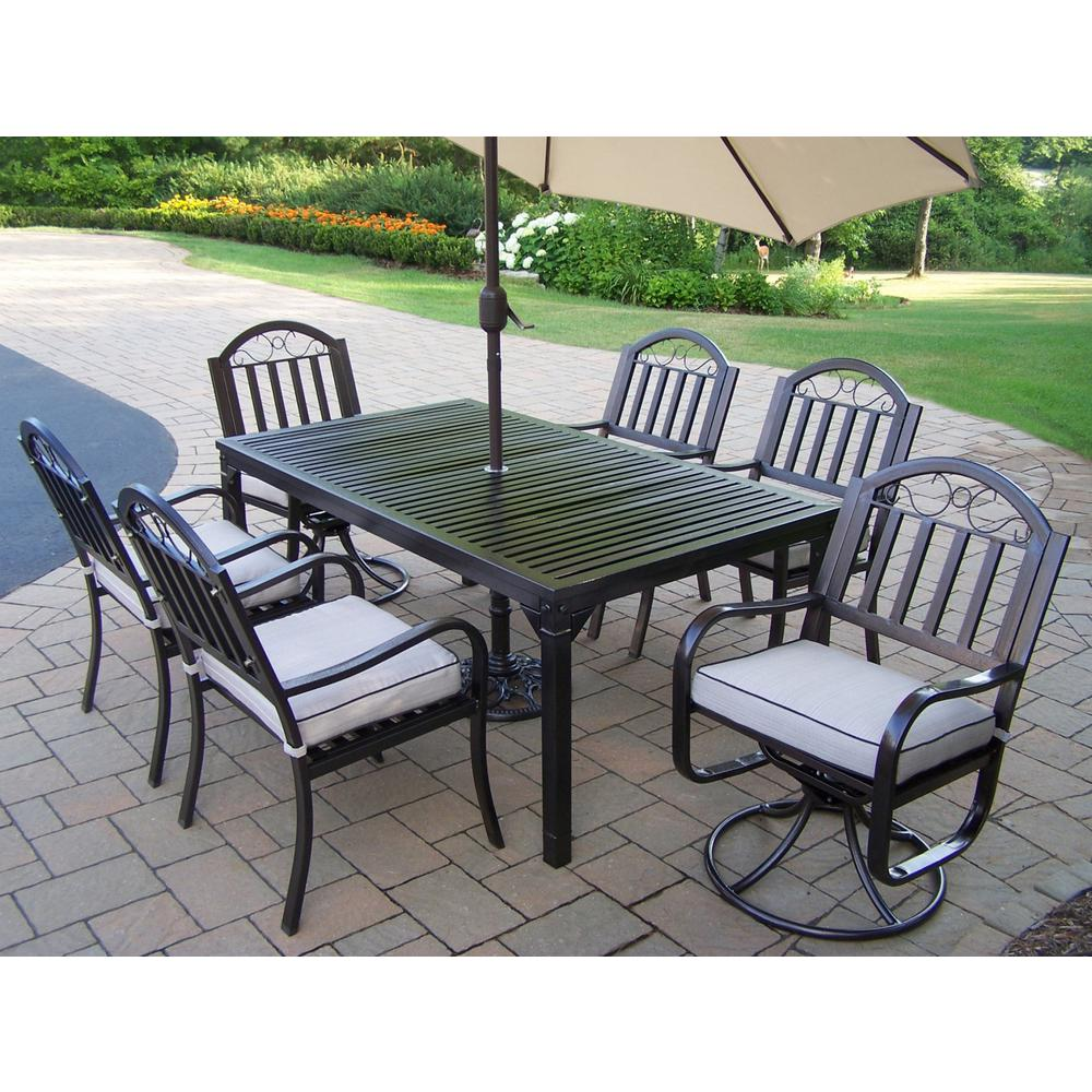 9-Piece Aluminum Outdoor Dining Set with Tan Cushions and Beige Umbrella