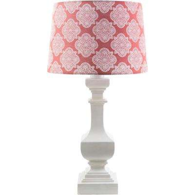 Aurel 29 in. White Indoor/Outdoor Table Lamp with Coral Print Shade
