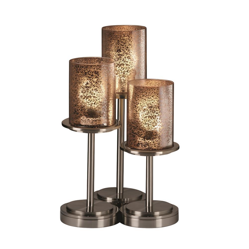 Fusion Dakota 3-Light 16 in. Brushed Nickel Table Lamp with Mercury Glass Shade