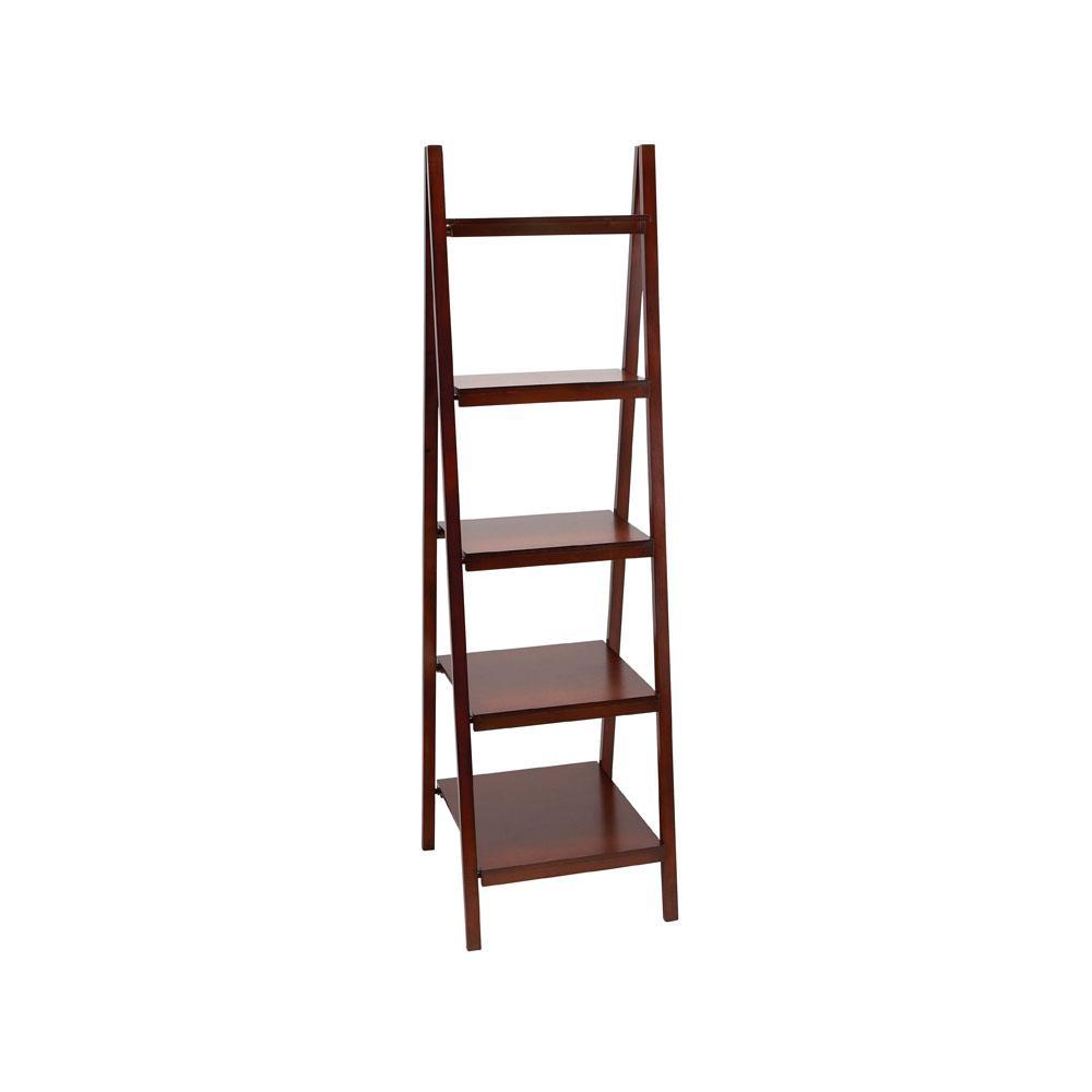 Rich Merlot 4-Tier Ladder Bookcase