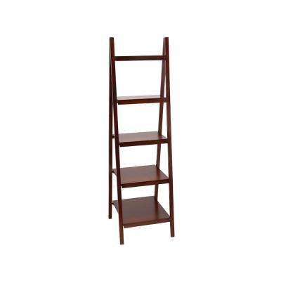 Rich Merlot 4-Tier Ladder Bookcase