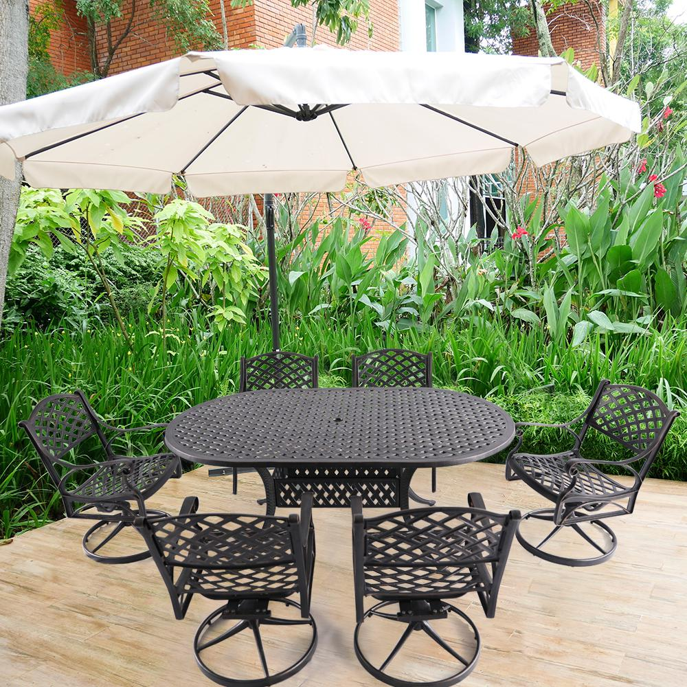 Nuu Garden Athena Black 7 Piece Cast Aluminum Outdoor Dining Set