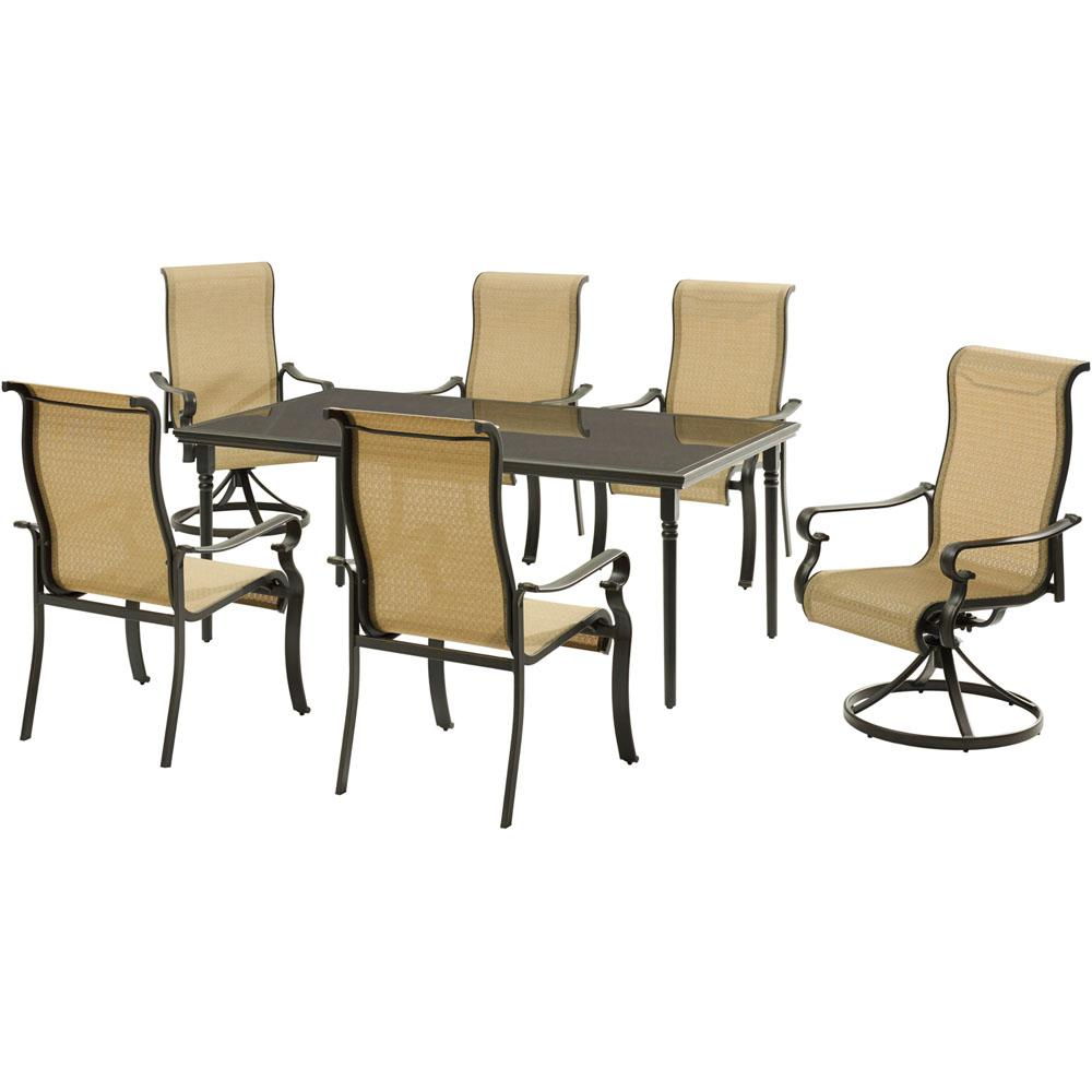 Hanover 7 Piece Aluminum Outdoor Dining Set With A 40 In