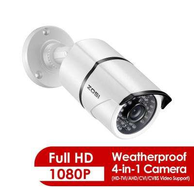 Wired 1080p Outdoor Indoor Bullet 4-in-1 TVI/CVI/AHD/Analog Security Camera with BNC Conversion