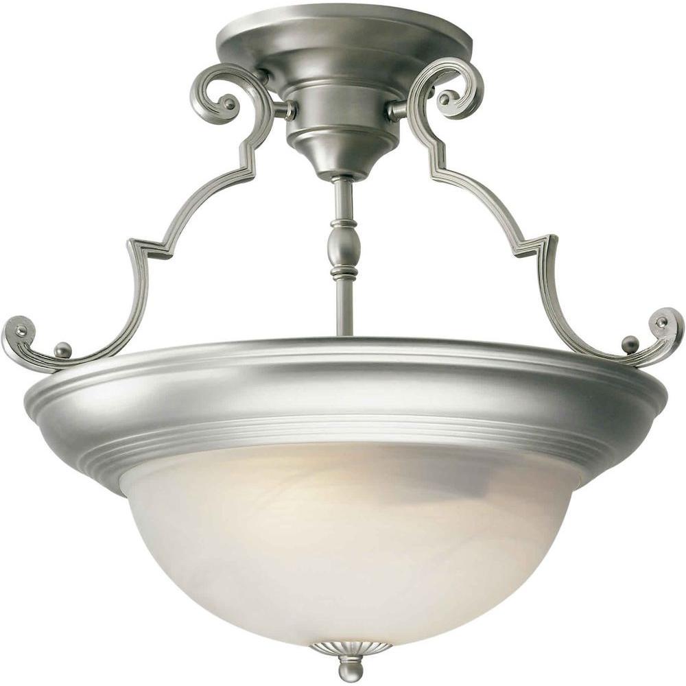 Burton 2-Light Brushed Nickel Incandescent Ceiling Semi Flush Mount
