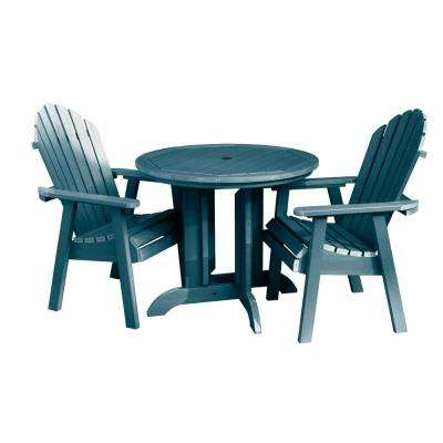 Hamilton Nantucket Blue 3-Piece Recycled Plastic Round Outdoor Dining Set