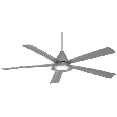 Cone 54 in. Integrated LED Indoor/Outdoor Silver Ceiling Fan with Light with Remote Control