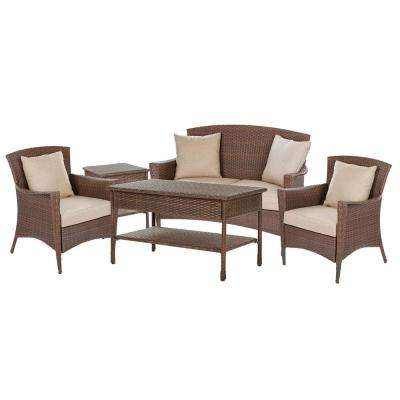 Galleon Collection 5-Piece Wicker Patio Conversation Set with Light Brown Cushions