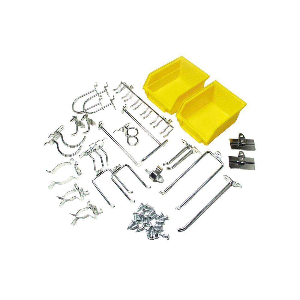 Triton Products DuraHook 26-Piece Zinc Plated Steel Hook and Bin Assortment for DuraBoard (24-Assortment Hooks and 2-Bins)