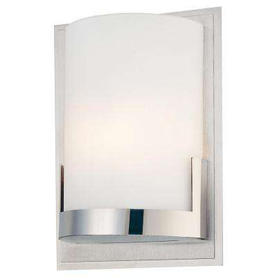 Convex 1 Light Brushed Aluminum Backplate With Chrome Glass Holder Wall  Sconce