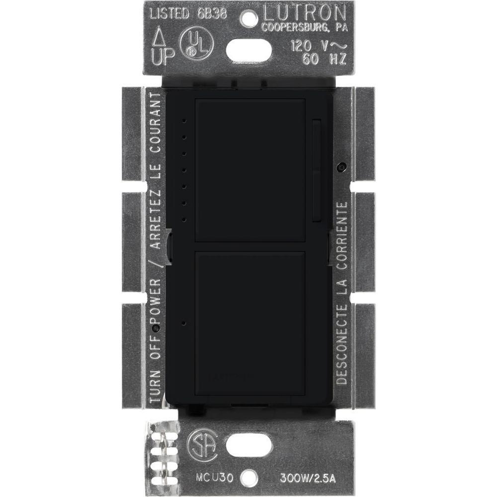 Maestro 300-Watt Single-Pole Dual Dimmer and Switch - Black