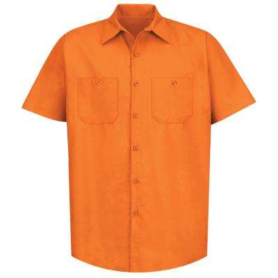 Men's Size 4XL Orange Industrial Work Shirt