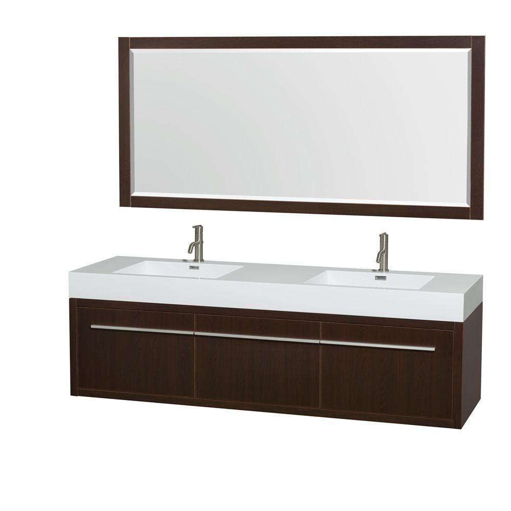 Wyndham Collection Axa 72 in. Double Vanity in Espresso with Acrylic Resin Vanity Top in White, Integrated Sinks and 70 in. Mirror