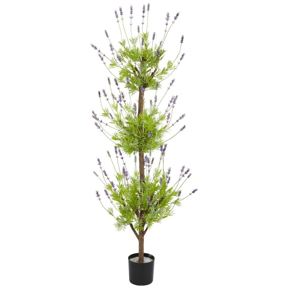 4 ft. Green Lavender Topiary Silk Tree