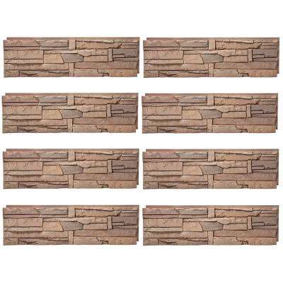 Stacked Stone Desert Sunrise 12 in. x 42 in. Faux Stone Siding Half Panel (8-Pack)