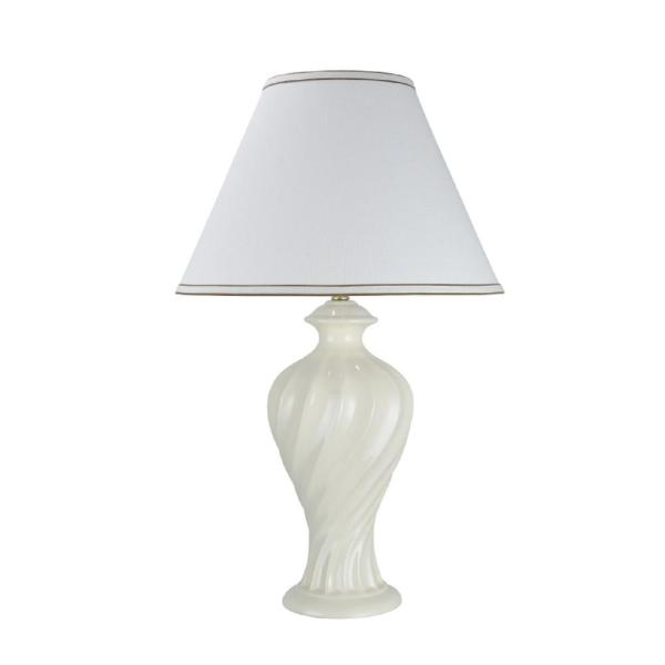 Aspen Creative Corporation 29-1/2 in. Off-White Ceramic Table Lamp with Hardback Empire Shaped Lamp Shade in Off-White
