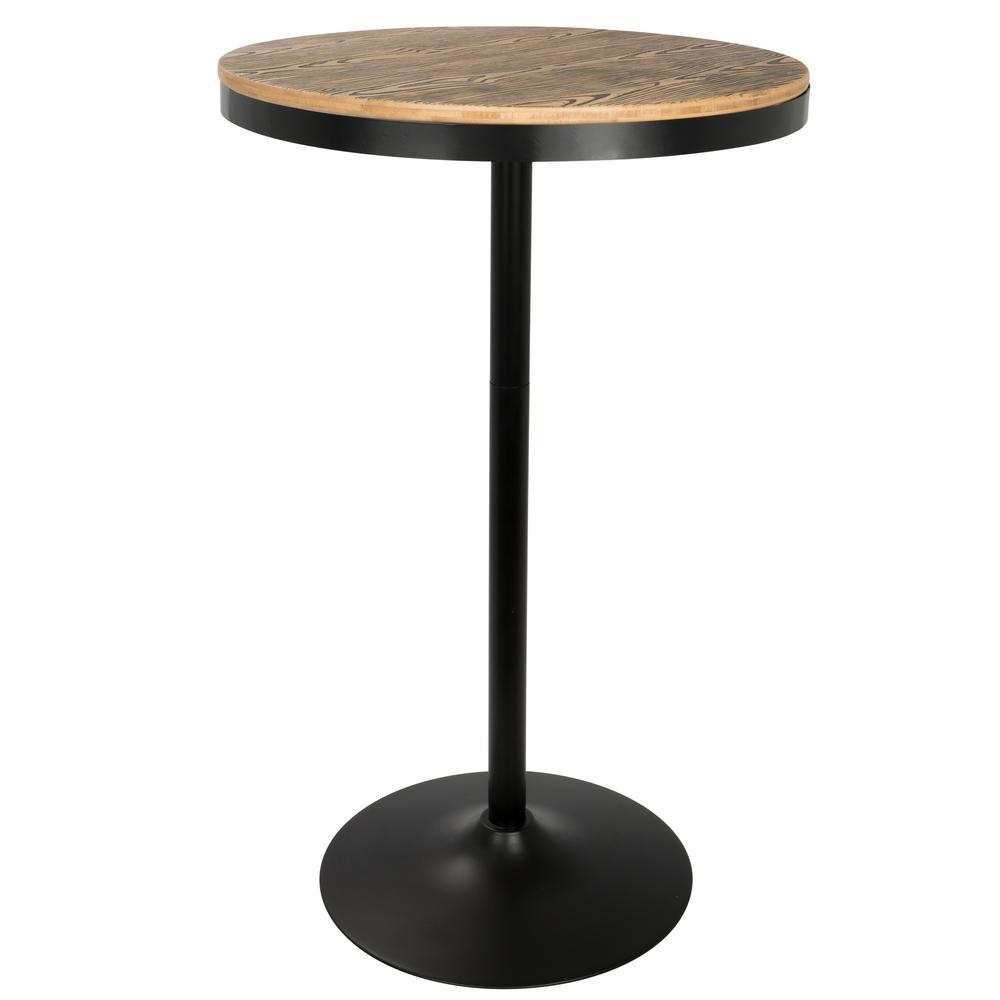 Dakota Black and Bamboo Adjustable Bar Table