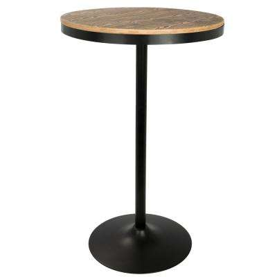 Dakota Black and Bamboo Adjustable Bar Table