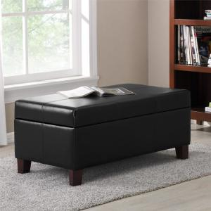Black Rectangle Storage Ottoman