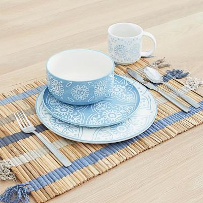 Skylar 16-Piece Casual Sky Blue Ceramic Dinnerware Set (Service for 4)