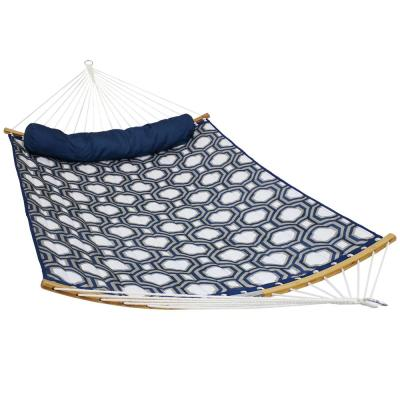 11.5 ft. Quilted 2-Person Hammock Bed with Pull-Apart Curved Bamboo Spreader Bars in Navy and Gray Tiled Octagon